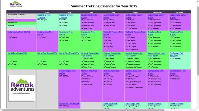 summer trekking calendar 2015